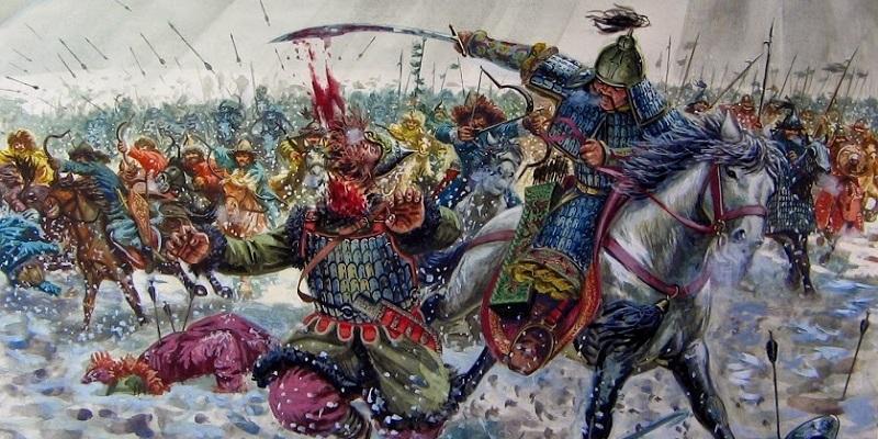 """Ilustração feita por Giusepe Rava sobre Gêngis Khan. A pintura mostra uma batalha na neve onde Khan comanda um exército e mata seus inimigos. Sua tropa carrega lanças e atira flechas. Khan aparece em destaque montado em um cavalo e cortando a cabeça de seu inimigo com sua espada. Seu exército está atrás. A imagem ilustra a resenha sobre o livro """"O Lobo das Planícies""""."""