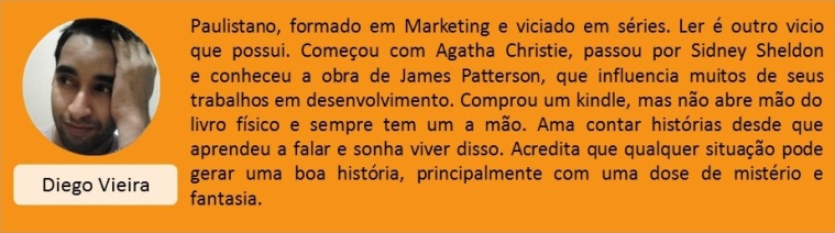 Card alaranjado com a foto e a mini bio do escritor Diego Vieira. A foto dele está do lado esquerdo, com o nome logo embaixo. Ao lado da foto, do lado direito do card, está escrito a mini bio do escritor.