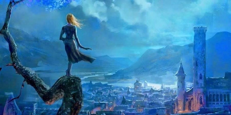 """Capa do livro """"A Música do Silêncio"""". Na imagem, uma mulher aparece de costas sobre o tronco de uma árvore. Ela olha pra frente, para onde existe uma vila medieval, um castelo e um lago. A imagem é uma ilustração."""