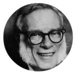 Moldura com foto do escritor Isaac Asimov.