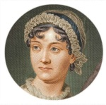 Moldura com foto da escritora Jane Austen.