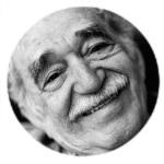 Moldura com foto do escritor Gabriel Garcia Márquez.