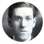 Moldura com foto do escritor H. P. Lovecraft.