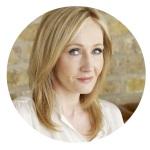 Moldura com foto da escritora J. K. Rowling.
