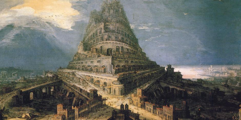 Ilustração da Torre de Babel. A Torre se ergue imponente sobre uma cidade de construções antigas. Ela é alta e almeja o céu, mas o seu topo ainda não terminou de ser construído.