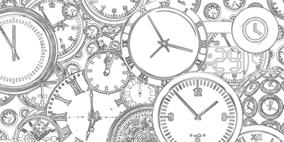 Um série de diferentes tipos de relógios desenhados sobre um fundo branco.