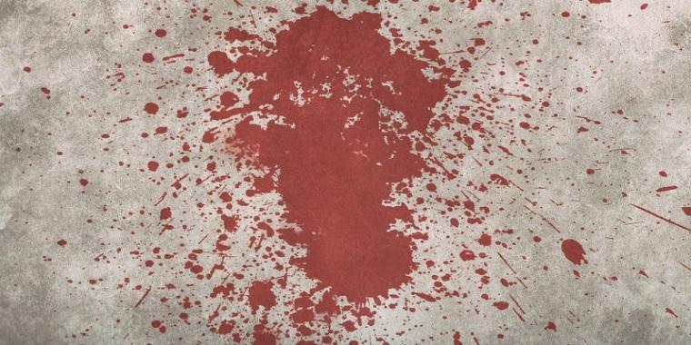 Mancha de sangue na parede.