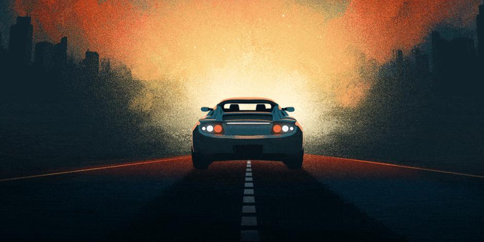 Ilustração da traseira de um carro. Ele segue em uma rodovia de dois sentidos, bem no meio da pista. Não tem nenhum outro carro por perto. À frente, sombras de uma frande cidade iluminada pelos faróis do carro.