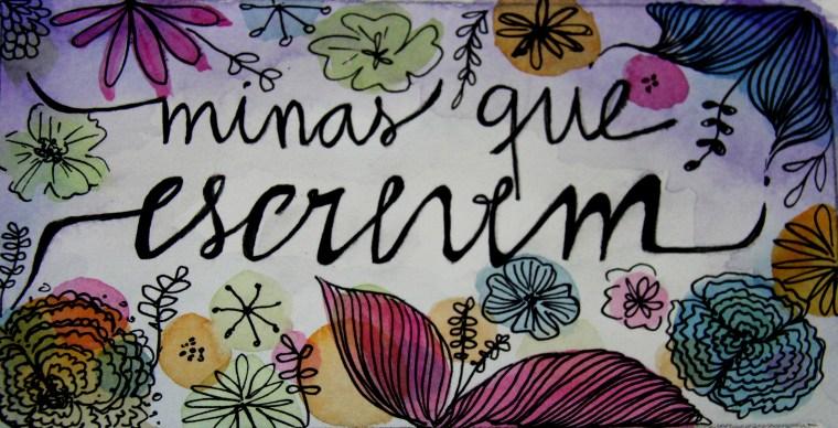 Arte do projeto Minas Que Escrevem. O nome está escrito em letras corridas e minúsculas sobre um fundo branco. Em volta, várias flores coloridas.