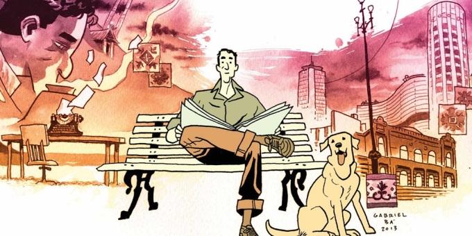 Ilustração para a história em quadrinhos 'Daytripper', de Fábio Moon e Gabriel Bá. No centro da imagem, um homem sentado em um banco de praça com um jornal aberto no colo. Ele olha pra frente. Seu olhar é cansado, mas intrigado. Ao seu lado, sentado no chão, um cachorro de médio porte, que também olha para frente, mas está com a língua para fora.